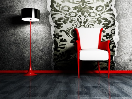 Interior design scene with a nice chair and a floor lamp on the grunge background photo