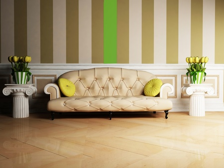 Interior design scene with a classic  sofa and two tables with the flowers photo