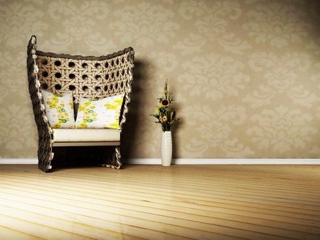 Nice interior design of living room with a wicker armchair and a vase, country style photo