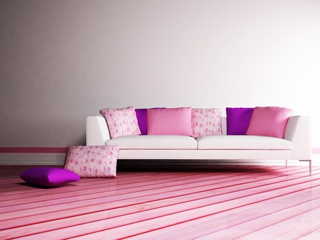 Modern  inter design of living room with a nice sofa with many pillows Stock Photo - 12975462