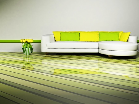 interior desing: Bright interior desing of living room with a nice sofa and the tulips Stock Photo
