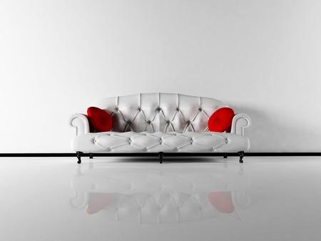 red couch: Interior design scene with a classic white sofa in empty room