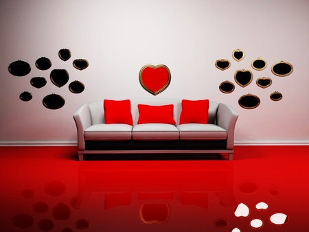 Romantic interior design with a sofa and the mirrors on the wall photo