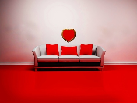 Romantic interior design with a sofa and the heart on the wall photo