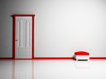 pouf: White and red classic door and a pouf in empty bright room Stock Photo