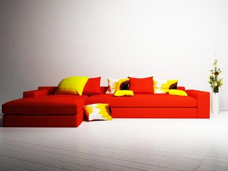 ikebana: Modern  interior design of living room with a sofa and an ikebana in white room