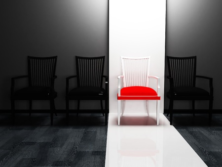 Interior design scene with four chairs in a row, black, red and white photo