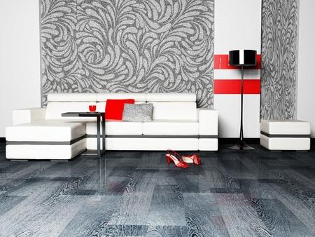 wall sconce: Dise�o moderno interior del sal�n con un sof� agradable y una l�mpara de pie