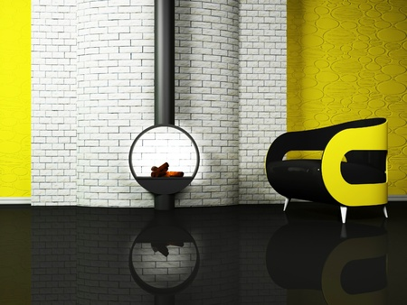 Modern  interior design of living room with a black and yellow sofa and a fireplase photo