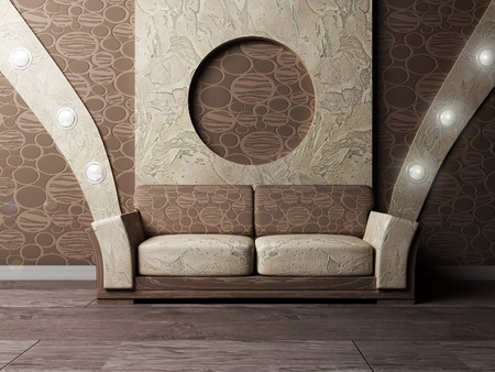 interior lighting: Interior design scene with a nice sofa and the lamps on the wall