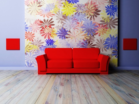 violet residential: Modern  interior design of living room with a red sofa on the interesting background