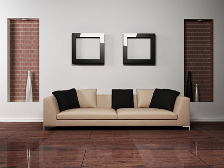 niche: Modern interior design of living-room with a nice sofa Stock Photo