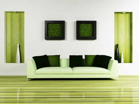 Modern  inter design of living room with a nice sofa and a decor on the wall Stock Photo - 12975534