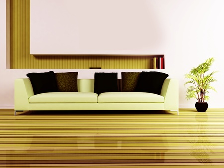 Modern  interior design of living room with a nice sofa, a plant  photo