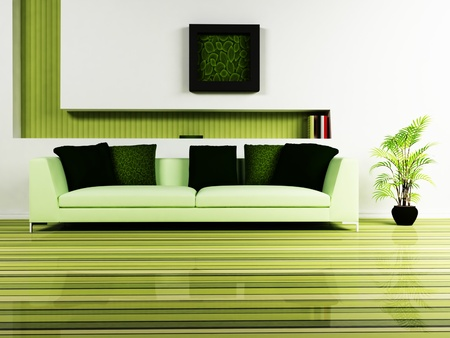 Modern  interior design of living room with a nice sofa, a plant and a decor on the wall photo