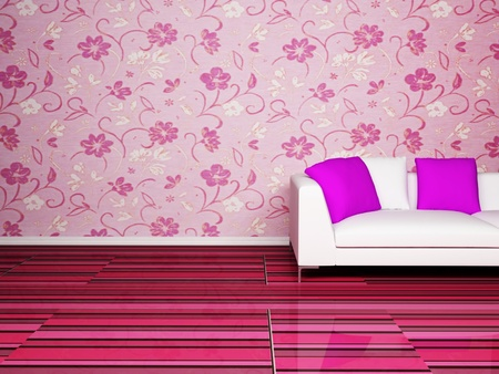 Modern  interior design of living room with a nice sofa on the pink background photo