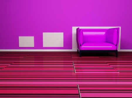 Interior design scene with a nice pink armchair photo
