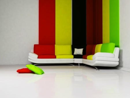 Bright interior of modern living-room with a sofa and the pillows photo