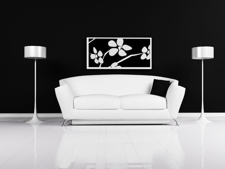 modern sofa: Modern  interior design of living room with a black and white sofa and the lamps Stock Photo