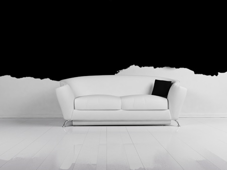 single rooms: Modern  interior design of living room with a white sofa  Stock Photo