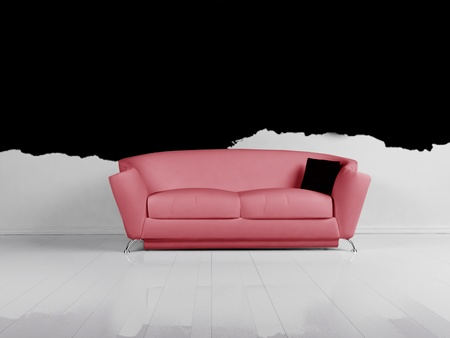 Modern Interior Design Of Living Room With A White Sofa Stock Photo ...