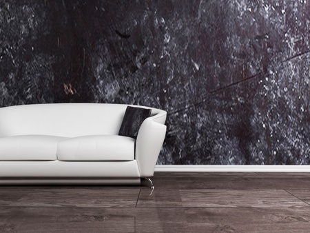 Interior design scene with a white sofa on the dirty dackground photo