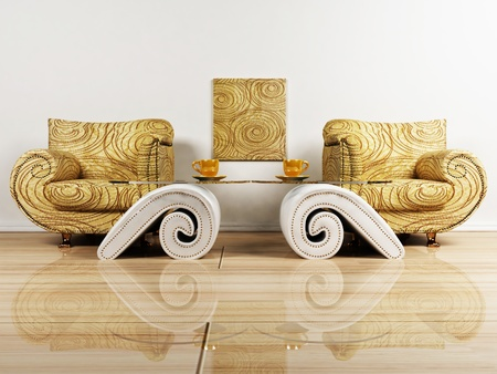 Interior design scene with two armchairs and the tables Stock Photo - 12975726