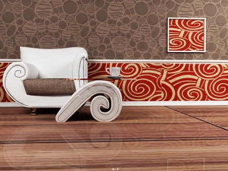 Modern  interior design of living room with an armchair and a table on interesting background photo