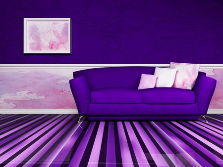Modern  interior design of living room with a violet  sofa and the picture photo