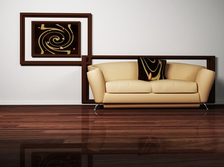 Modern  interior design of living room with a brown  sofa and the picture Stock Photo - 12975133