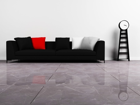 Modern  interior design with a black sofa and a clock photo