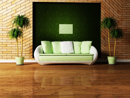 Modern  interior design of living room with a  sofa and the plants photo
