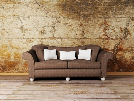 Modern  interior design of living room with a  sofa on the grunge background photo
