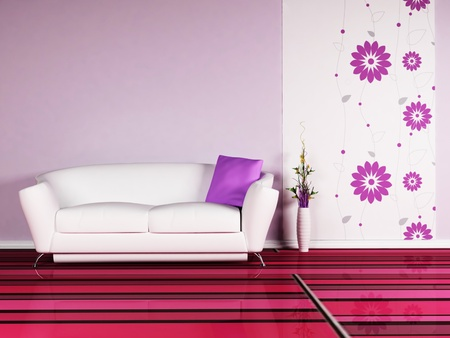 Modern  interior design of living room with a  sofa and the vase