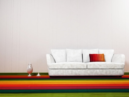 Modern  interior design of living room with a  sofa and the vases photo