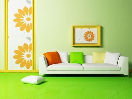 Bright interior design with a nice sofa and a picture photo