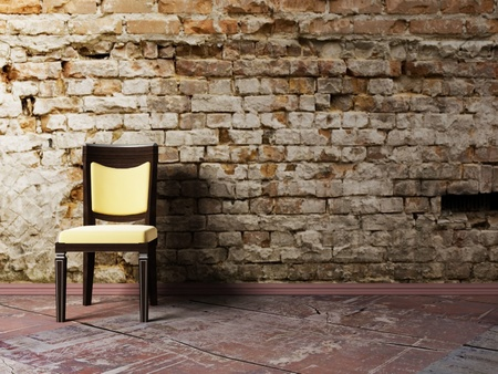 Interior design scene with a  chair on the brick background Stock Photo - 12975880