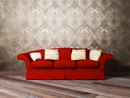 red sofa: Modern  interior design of living room with a  red sofa