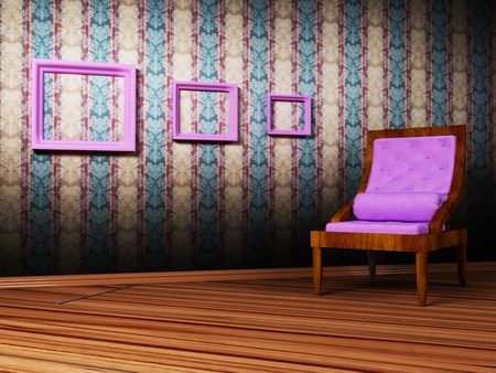 Interior design scene with an  armchair and the pictures