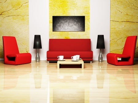 Modern Interior Design Of Living Room With A Red Sofa And The Red Armchairs  Stock Photo
