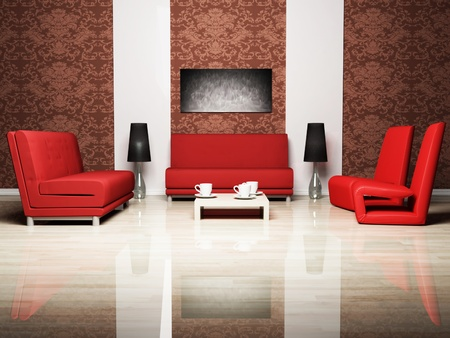 Modern  interior design of living room with a  red sofa and the red armchairs photo