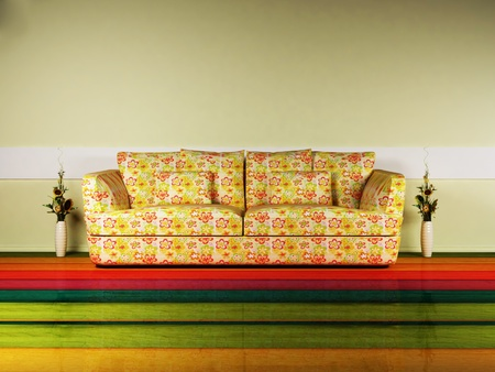 Bright interior design with a nice sofa and and a vase photo