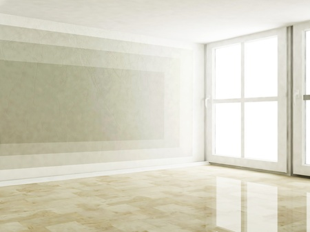parquet texture: empty room with the large windows