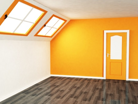 empty room with the large windows in warm color photo
