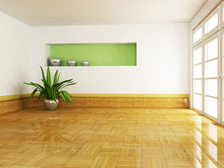 Interior design scene with a plant in the empty room photo