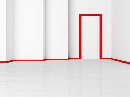 red door: Empty room with a door, rendering