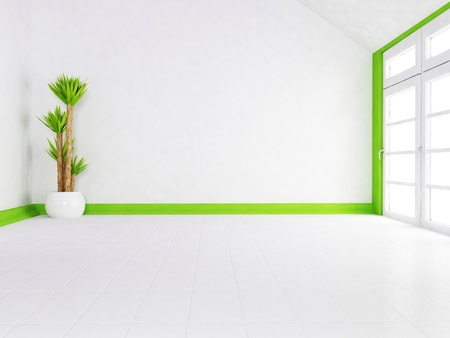Inter design scene with the plant and the window Stock Photo - 13551451