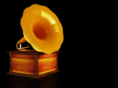 grammy: an old gramophone on the black background Stock Photo