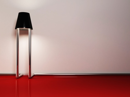 Creative floor lamp in an empty room photo