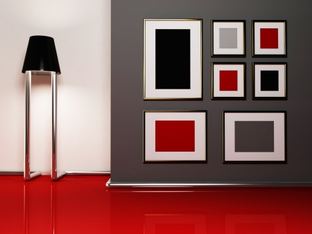gallery interior: Creative floor lamp and the pictures in the room